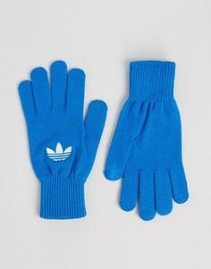 Синие перчатки с логотипом‑трилистником adidas Originals AY9340 - Синий