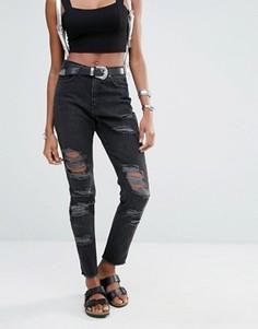 Джинсы в винтажном стиле с завышенной талией Missguided Riot - Черный