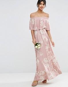 Розовое платье макси с открытыми плечами и оборкой ASOS WEDDING - Мульти