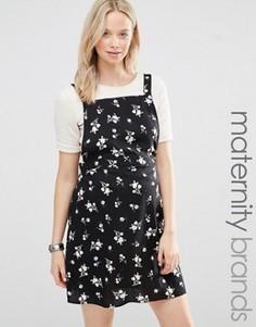 Платье-сарафан для беременных с цветочным принтом New Look Maternity - Черный