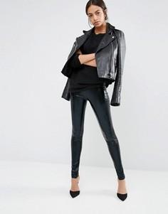 Блестящие леггинсы с высокой талией New Look - Черный