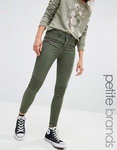 Зауженные джинсы с молниями в байкерском стиле New Look Petite - Зеленый