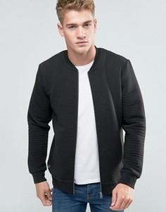 Стеганая трикотажная куртка на молнии Threadbare - Черный