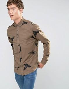 Хлопковая рубашка с начесом и принтом птицы Only & Sons - Рыжий
