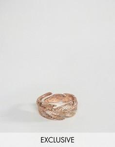 Золотисто-розовое кольцо с отделкой в виде пера Icon Brand - Золотой