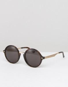 Круглые солнцезащитные очки в темной черепаховой оправе Gucci - Коричневый
