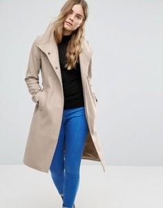 Полушерстяное пальто с воротником-трубой ASOS - Коричневый