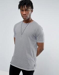 Длинная футболка в полоску с рукавами реглан и молниями ASOS - Черный