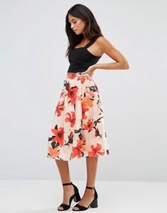 Трапециевидная юбка миди с цветочным принтом Wal G - Мульти