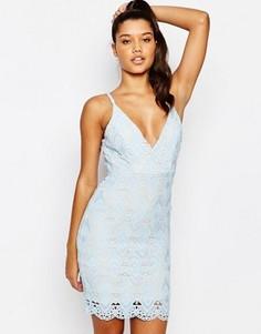 Кружевное платье мини Love Triangle - Синий