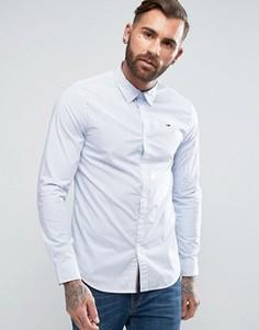 Синяя стретчевая рубашка узкого кроя в полоску с логотипом Hilfiger Denim - Белый
