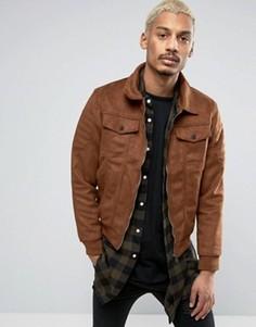 Светло-коричневая байкерская куртка из искусственной замши Criminal Damage - Рыжий