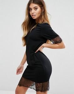 Платье-футболка с кружевной отделкой Boohoo - Черный