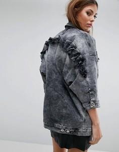 Джинсовая oversize-куртка с рюшами Diesel - Серый