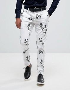 Белые брюки скинни с цветочным принтом ASOS - Белый