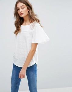 Блузка с кружевом и расклешенными рукавами Vila - Белый