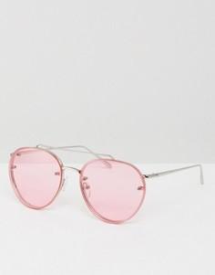 Солнцезащитные очки-авиаторы с розовыми линзами в стиле 90-х ASOS - Серебряный