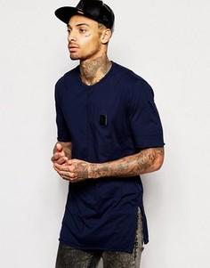 Длинная футболка с боковыми разрезами и нашивкой Religion - Синий