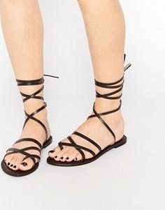 Замшевые сандалии с ремешком на щиколотке Park Lane - Коричневый