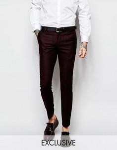 Бордовые фактурные супероблегающие брюки Heart & Dagger - Красный