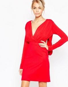 Платье с глубоким вырезом и длинными рукавами Hedonia Gabby - Красный