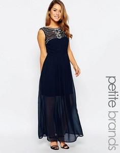 Платье макси с отделкой на горловине Maya Petite - Темно-синий