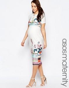 Платье-футляр с цветочным принтом для беременных ASOS Maternity - Мульти
