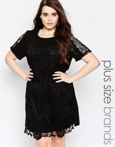 Кружевное цельнокройное платье Lovedrobe Plus - Черный