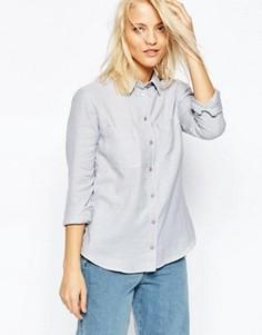Приталенная саржевая рубашка ASOS - Серый