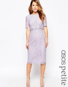 Кружевное платье‑футляр миди с укороченным топом ASOS PETITE - Фиолетовый
