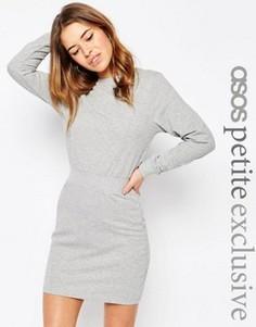 Трикотажное платье с эластичным поясом ASOS PETITE - Серый
