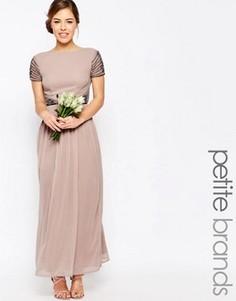 Платье макси с короткими рукавами и отделкой на талии Maya Petite - Розовый