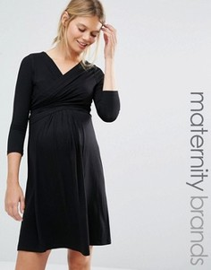 Платье миди с запахом спереди Isabella Oliver - Черный
