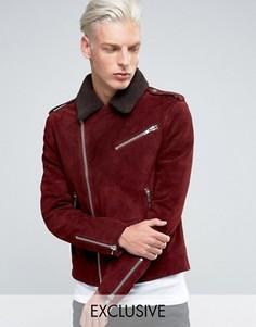 Замшевая байкерская куртка с воротником борг Black Dust - Красный