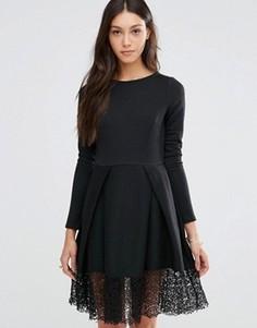 Платье с кружевной кромкой Traffic People Hepburn - Черный