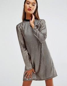 Цельнокройное платье с длинными рукавами и эффектом кольчуги House Of Holland - Золотой