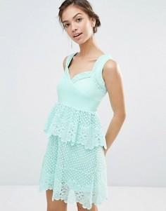 Платье с кружевной баской Boohoo Boutique - Зеленый