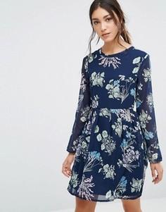 Платье с принтом и длинными рукавами Yumi - Темно-синий