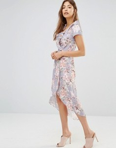 Асимметричное платье с запахом и оборками Oh My Love - Мульти