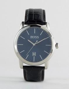 Классические часы с черным кожаным ремешком BOSS By Hugo Boss - Черный