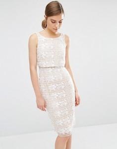 Кружевное цельнокройное платье Coast Cerelia - Бежевый