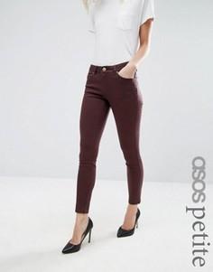 Темно-красные джинсы с классической талией ASOS PETITE Lisbon - Черный