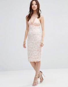 Платье миди с перекрестным дизайном Girl In Mind - Розовый