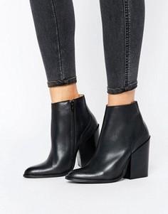 Черные кожаные полусапожки челси на каблуке Selected Femme Silvia - Черный