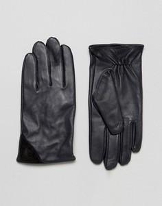 Темно-синие кожаные перчатки с черной замшевой отделкой Barneys - Темно-синий Barneys Originals