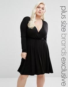 Короткое приталенное платье с запахом и длинными рукавами Club L Plus - Черный