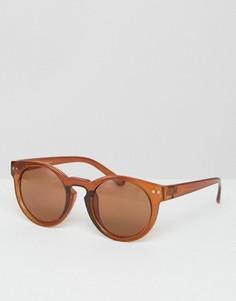 Круглые солнцезащитные очки в массивной коричневой оправе ASOS - Коричневый