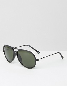 Солнцезащитные очки-авиаторы в матовой черной оправе ASOS - Черный