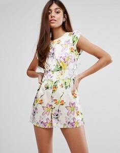 Ромпер с садовыми цветами Darling - Белый