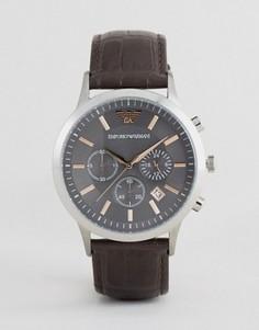 Коричневые часы с кожаным ремешком и хронографом Emporio Armani AR2513 - Черный
